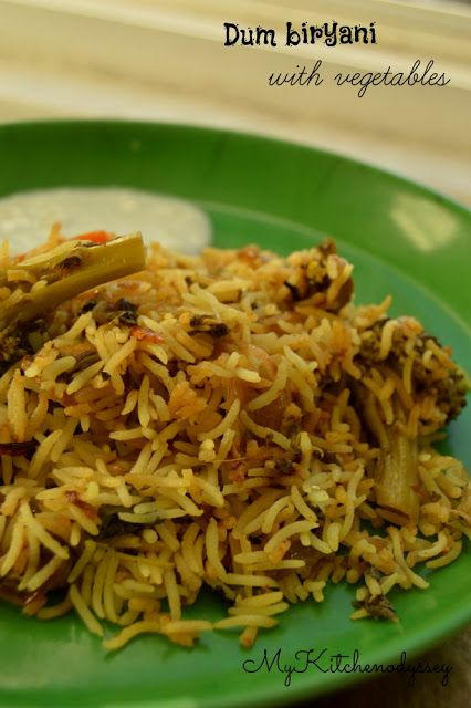 Vegetable dum biryani - a tasty south Indian Lunch made with vegetables,rice,spices and mint leaves ,without any extra water and is cooked only in steam.
