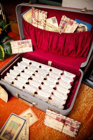 For a wedding at Union Station in Los Angeles, Sterling Engagements displayed escort cards printed to look like train tickets inside vintage suitcases.