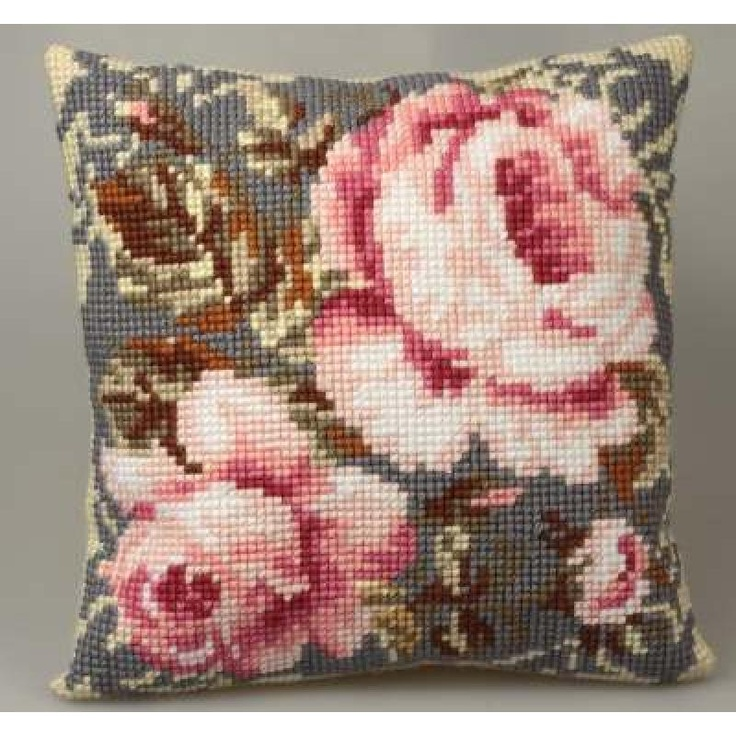 Craft Boutique - Rose ancienne (Old Rose) Cross Stitch Cushion Front from Collection d'Art