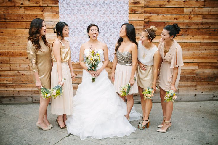 DIY Los Angeles Wedding from Snapmotive | Metallic bridesmaid ...