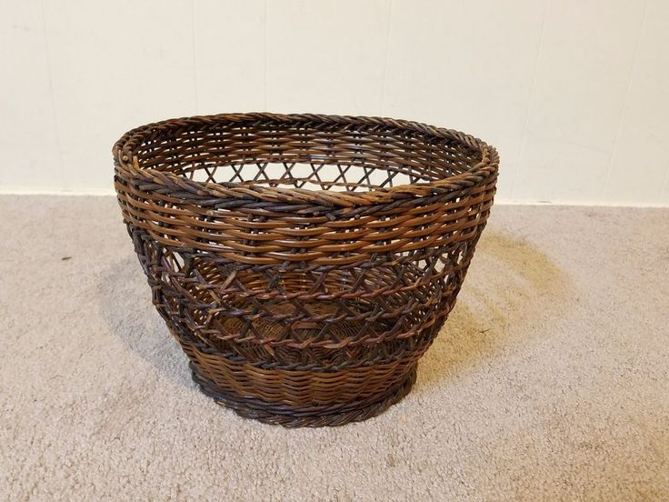 "Vtg Wicker Rattan Cross Weave 8"" Basket Trash Garbage Waste Can Pale Bucket Old"
