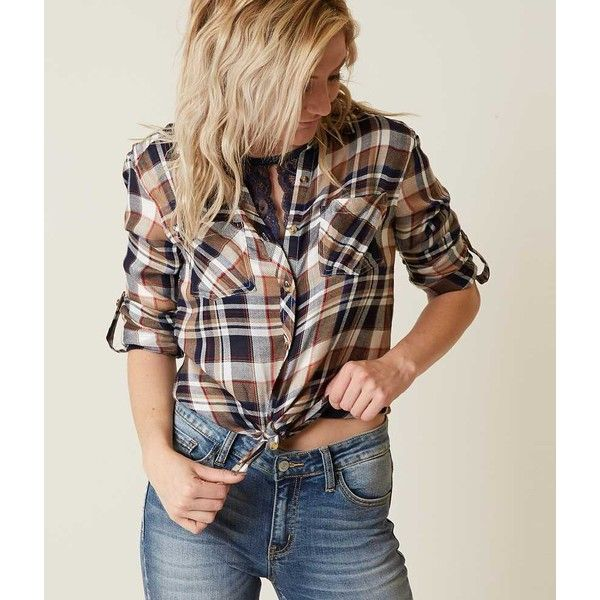 Women's Flannel Shirt in Brown/Blue by Daytrip. ($27) ❤ liked on Polyvore featuring tops, blue flannel shirts, brown shirts, tartan shirt, convertible tops and blue top