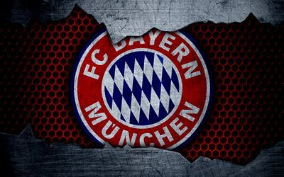 Bayern Munich, 4k, logo, metal background, soccer, Bundesliga, BVB, FC Bayern Munich, football