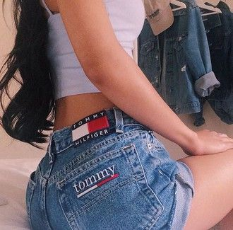 shorts clothes tumblr love nice summer jeans denim tommy hilfiger high waisted shorts tumblr clothes tumblr outfit high waisted jeans summer outfits summer top summer shorts top denim shorts