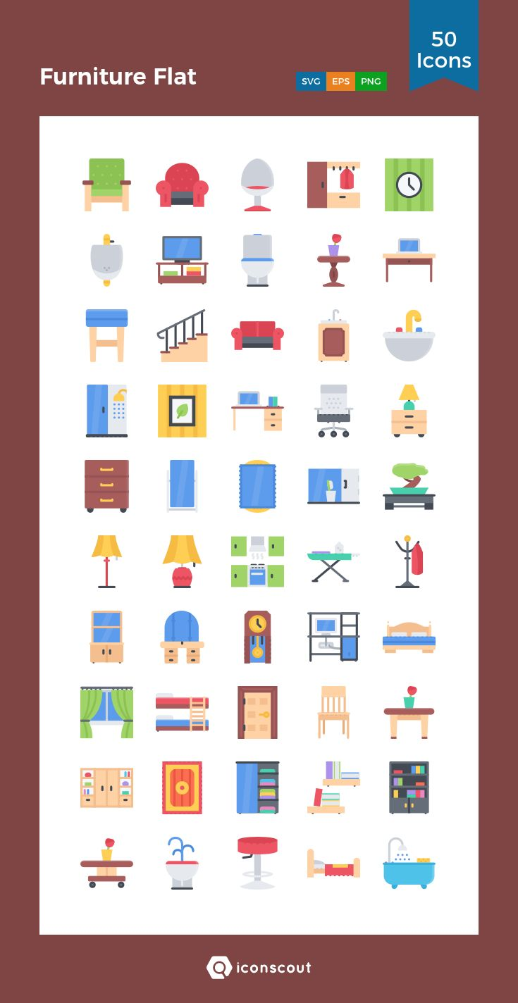 Furniture Flat  Icon Pack - 50 Flat Icons