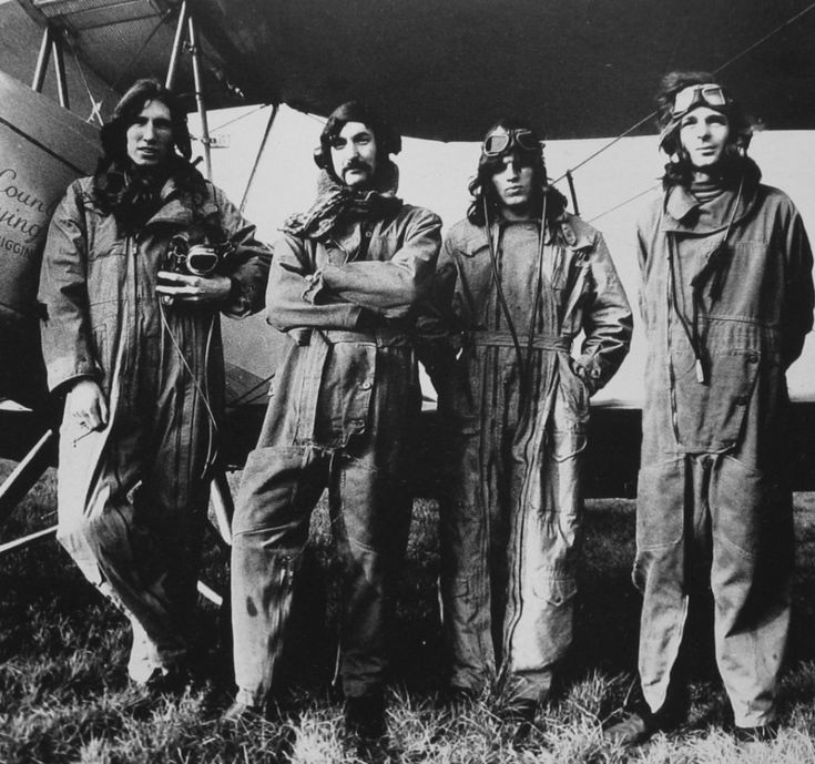 Pink Floyd in pilot suits, 1968.