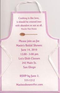 Apron Bridal Shower InvitationShower Ideas, Kitchens Shower, Bridal Ideas, Parties Ideas, Shower Brids Parties, Bridal Shower Invitations, Aprons Bridal, Invitations Personalized, Bridal Showers