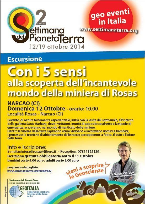 CON I 5 SENSI ALLA SCOPERTA DELLA MINIERA DI ROSAS – NARCAO – DOMENICA 12 OTTOBRE 2014