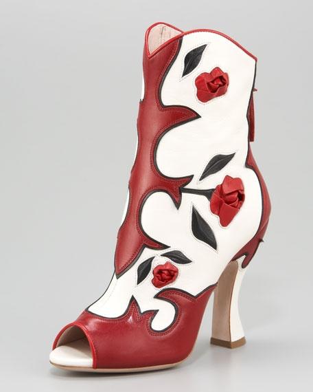 Miu Miu Feather Rose Peep-Toe Ankle Boot
