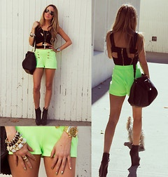 neon green shorts- HAUTE AND REBELLIOUS