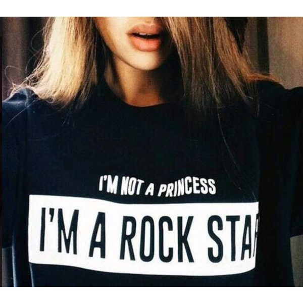 im not a princess im a rock star tshirt goth punk tee grunge fashion... ($23) ❤ liked on Polyvore featuring tops, t-shirts, star t shirt, punk rock shirts, punk shirt, black t shirt and rock shirts