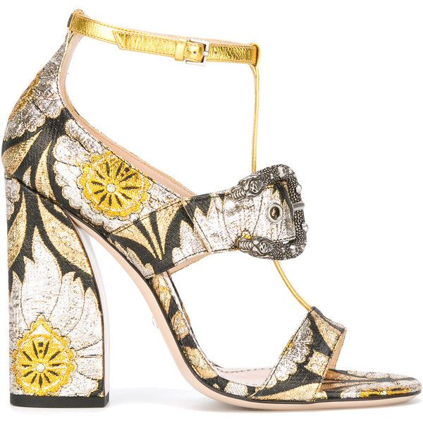 Gucci floral element sandals (23 125 UAH) ❤ liked on Polyvore featuring shoes, sandals, gucci, shoes 3, black, leather shoes, black buckle sandals, buckle shoes, floral sandals and black block heel sandals