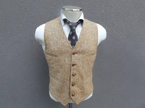 1970s Brown Tweed Vest / Vintage Tweed Waistcoat Size 40