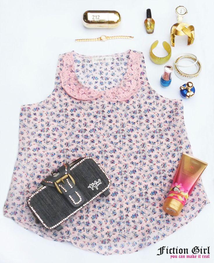 blusa de gasa floreada vipure rosa