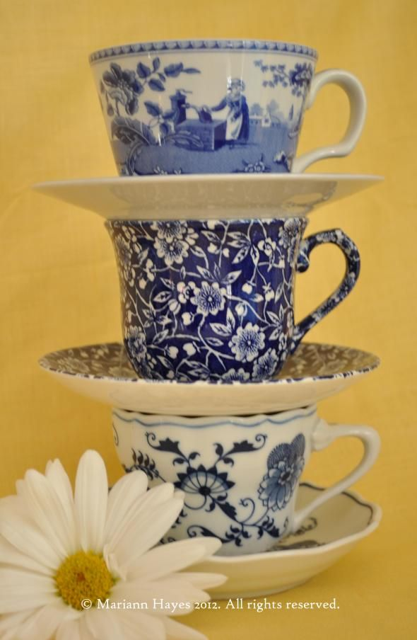Blue & White China Tea Cups LOVE these cups and saucers!