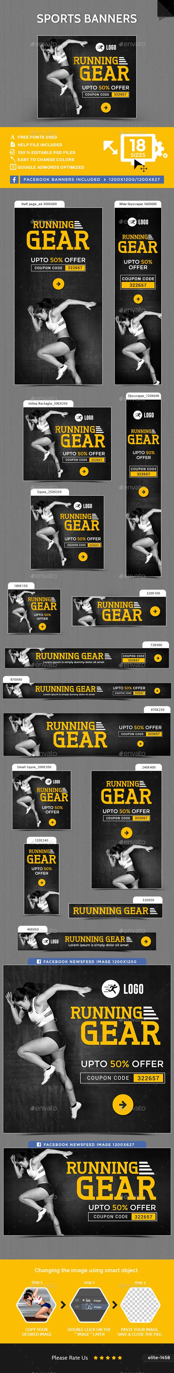 Sports Banners — Photoshop PSD #gif banner #studio • Available here → https://graphicriver.net/item/sports-banners/16048109?ref=pxcr
