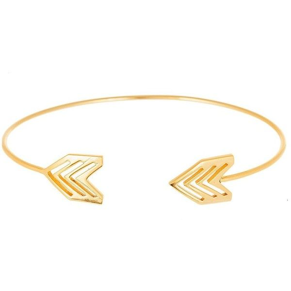 Lord & Taylor Gold Arrow End Cuff Bangle (155 RON) ❤ liked on Polyvore featuring jewelry, bracelets, accessories, gold, gold bangles, cuff bangle, 18k gold bangles, bangle bracelet and 18 karat gold bangles