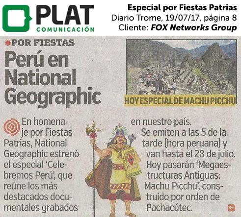 FOX Networks Group: Especial por Fiestas Patrias en el diario Trome de Perú (19/07/2017)
