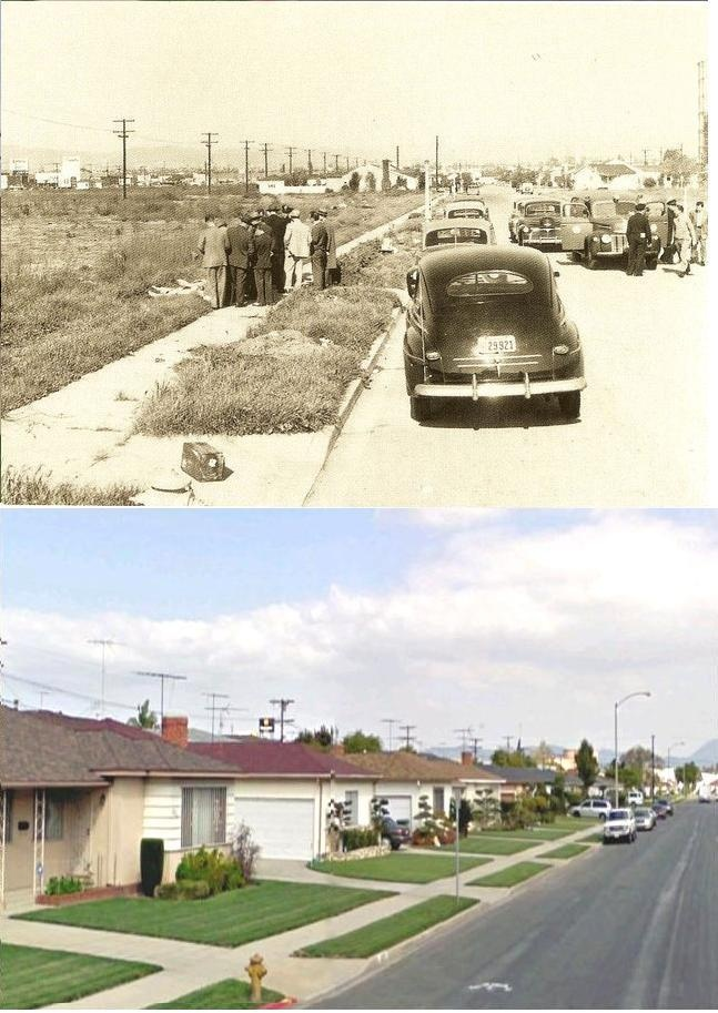 Black Dahlia murder scene, then and now.