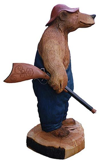 Carved Wooden Bear Hunting, profile