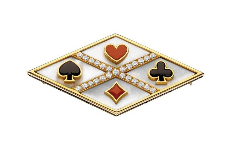 'Playing Card' brooch, ca. 1975 - Gold with mother-of-pearl, coral, onyx and diamonds.  Courtesy of de Young Museum