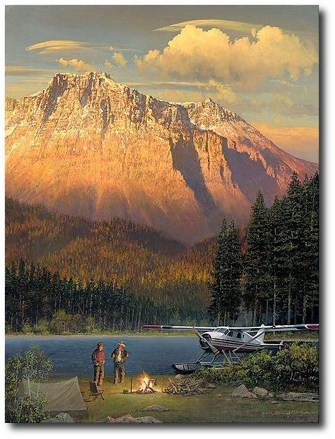 AVIATION ART HANGAR - Fish Tales at Beaver Camp by William S. Phillips (DHC-2 de Havilland Beaver)