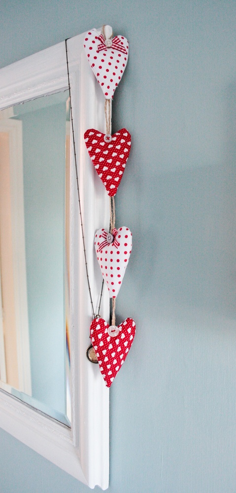 Stuffed heart hanging wall door decoration by found in the loft
