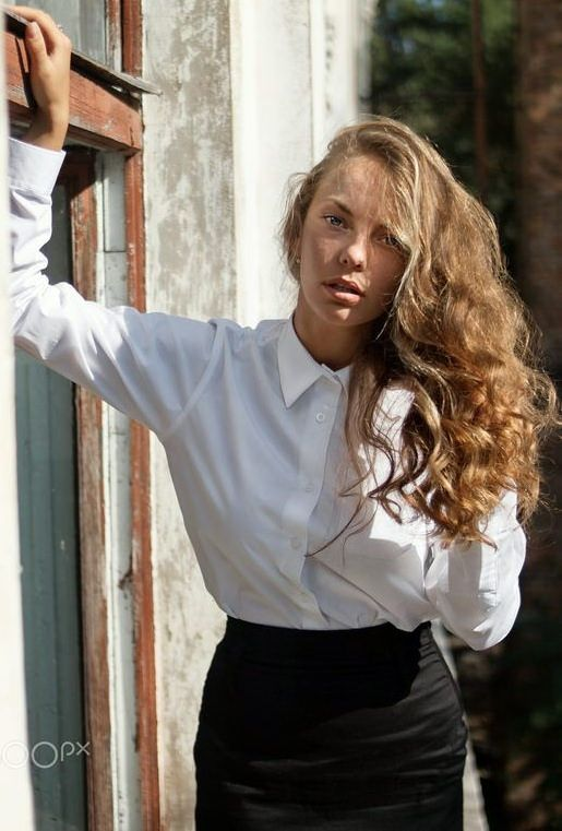 At Home Dressed Formal In White Shirt And Black Skirt