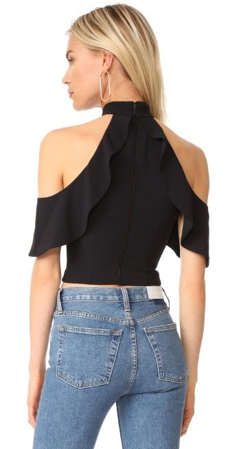 alice + olivia Cabot Cold Shoulder Ruffle Crop Top | SHOPBOP