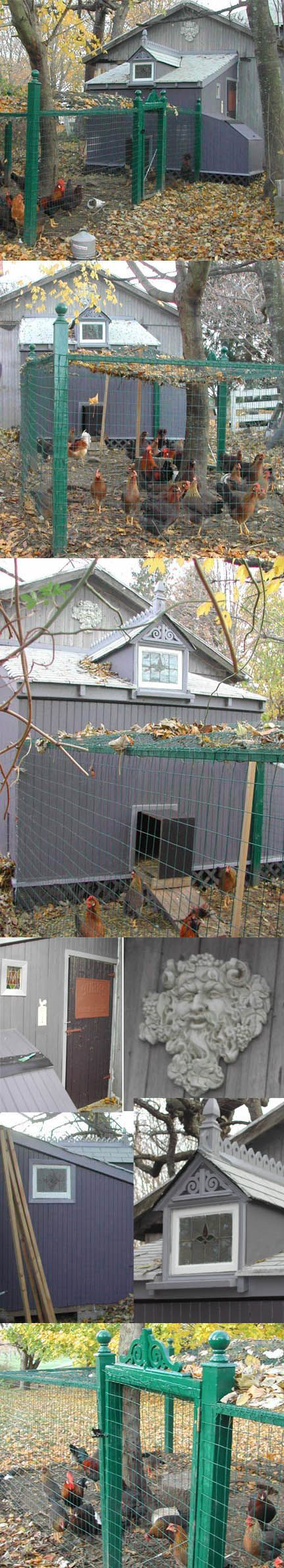 LOVE this coop!~Victorian Style Chicken coop I built. Features a relief of Bacchus overlooking the vineyards.