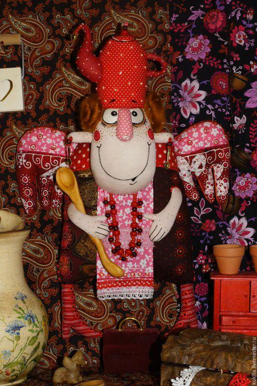 Коллекционные куклы ручной работы. Ярмарка Мастеров - ручная работа. Купить Чайный ангелочек.. Handmade. Ярко-красный, подарок на новоселье