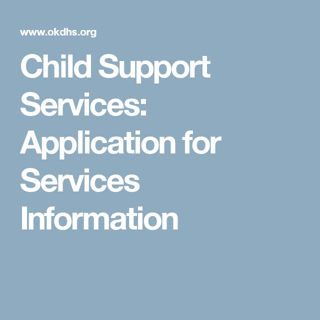 Child Support Services: Application for Services Information