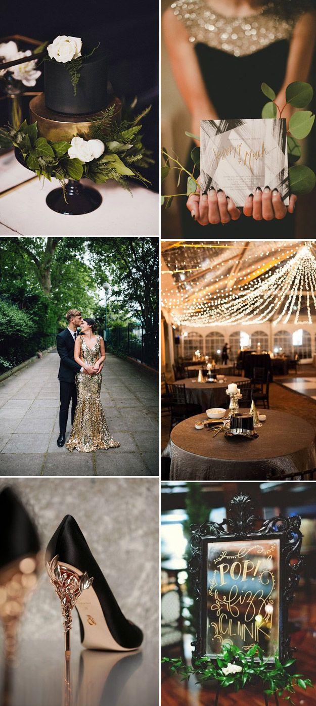 Classy New Years Eve Wedding Inspiration   B&E Lucky in Love Blog #NYEWedding #GlamWedding #BlackGoldWedding