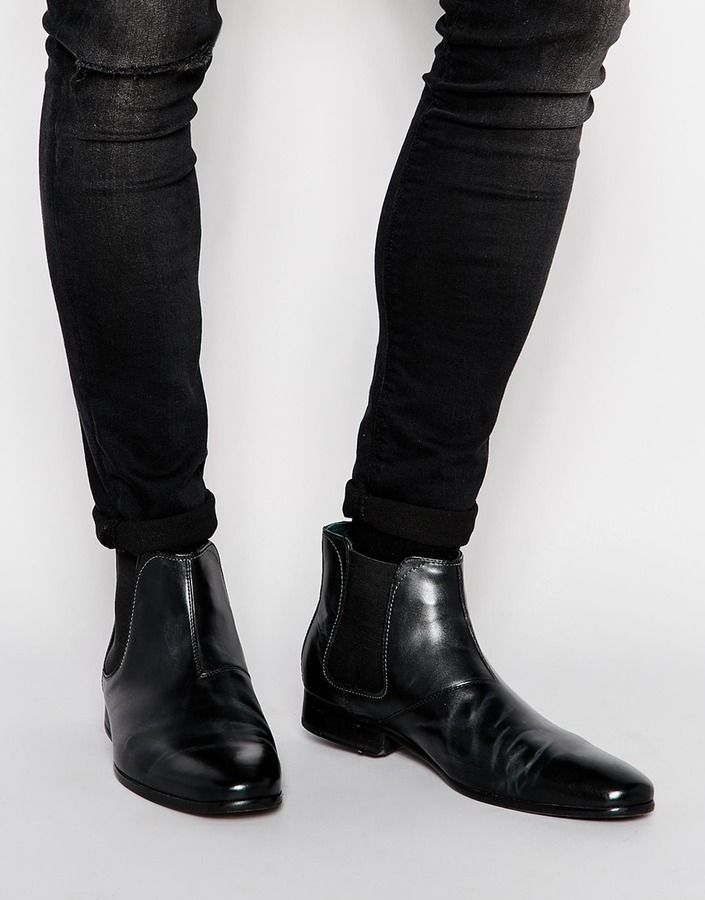 $199, Black Leather Chelsea Boots: Ted Baker Buurg Chelsea Boots. Sold by Asos. Click for more info: https://lookastic.com/men/shop_items/289708/redirect