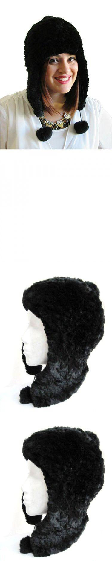 Unisex Knit Black Rex Rabbit Pom Poms Trapper Hat