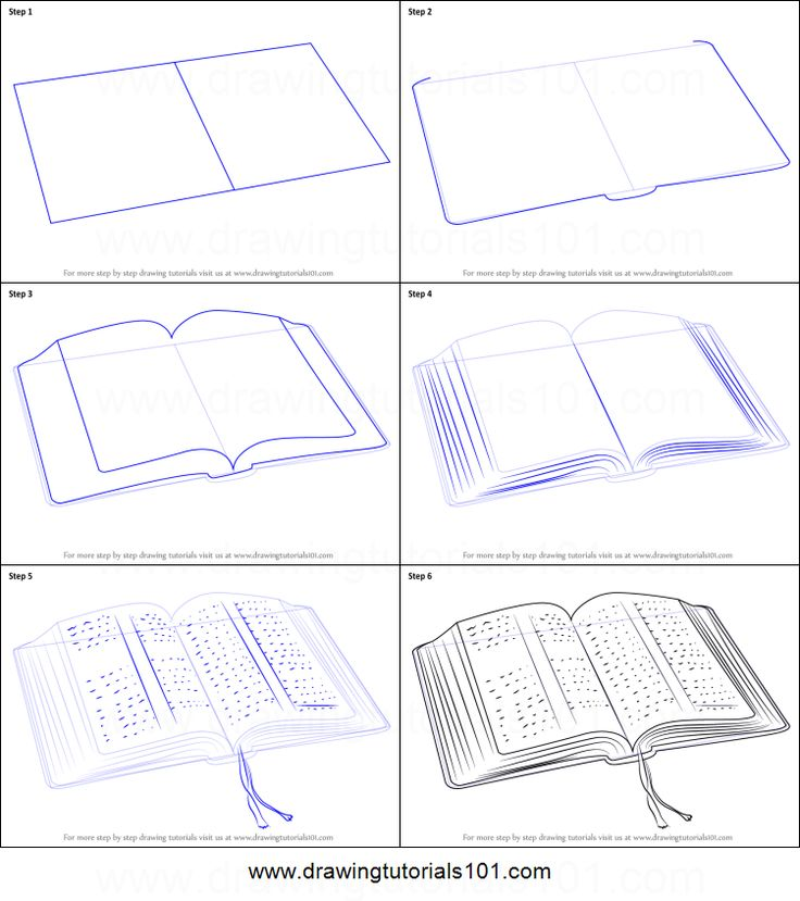 How to Draw an Open Book printable step by step drawing sheet : DrawingTutorials101.com