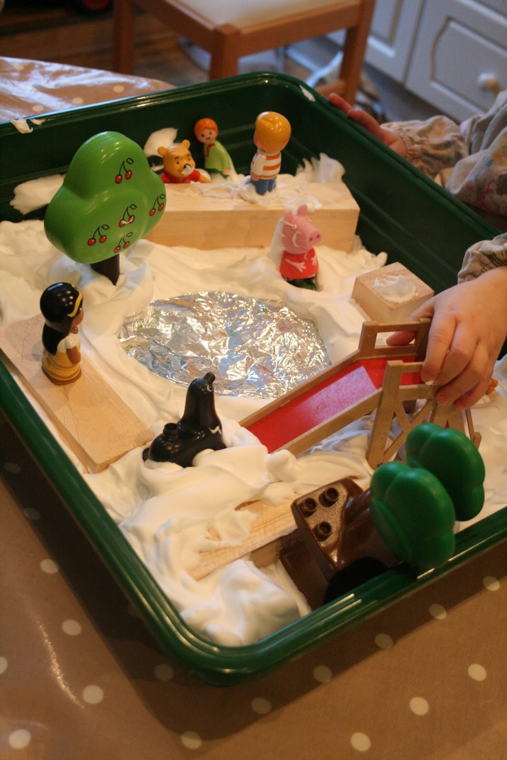 brilliant idea using shaving foam and small world items could be done on a tuff spot to icrease area of play for a nursery or reception class. check this site out :The Imagination Tree: Small World Play: The Park in the Snow!