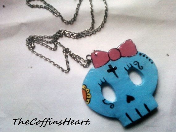 Sugar Skull Necklace by TheCoffinsHeart on Etsy, $8.00: Skull Necklaces, Skull Jewelry, Sugar Skull