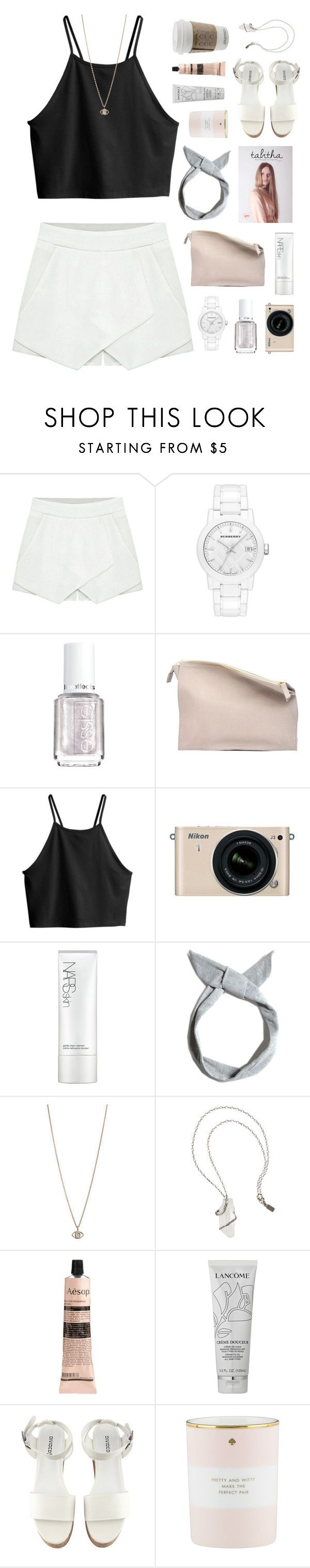 """""""evil eye"""" by le-rosie ❤ liked on Polyvore featuring Burberry, Essie, Sabrina Zeng, H&M, Nikon, NARS Cosmetics, Pull&Bear, Minor Obsessions, Pamela Love and Aesop"""