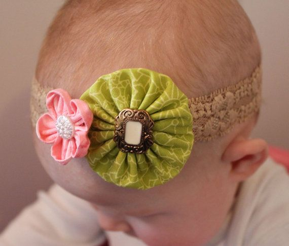 Lime green and pink vintage lace headband... baby by ElianasCove, $13.00