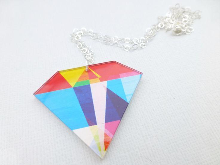Diamond Rainbow Necklace - Geometric  - Whimsy & Grace NZ