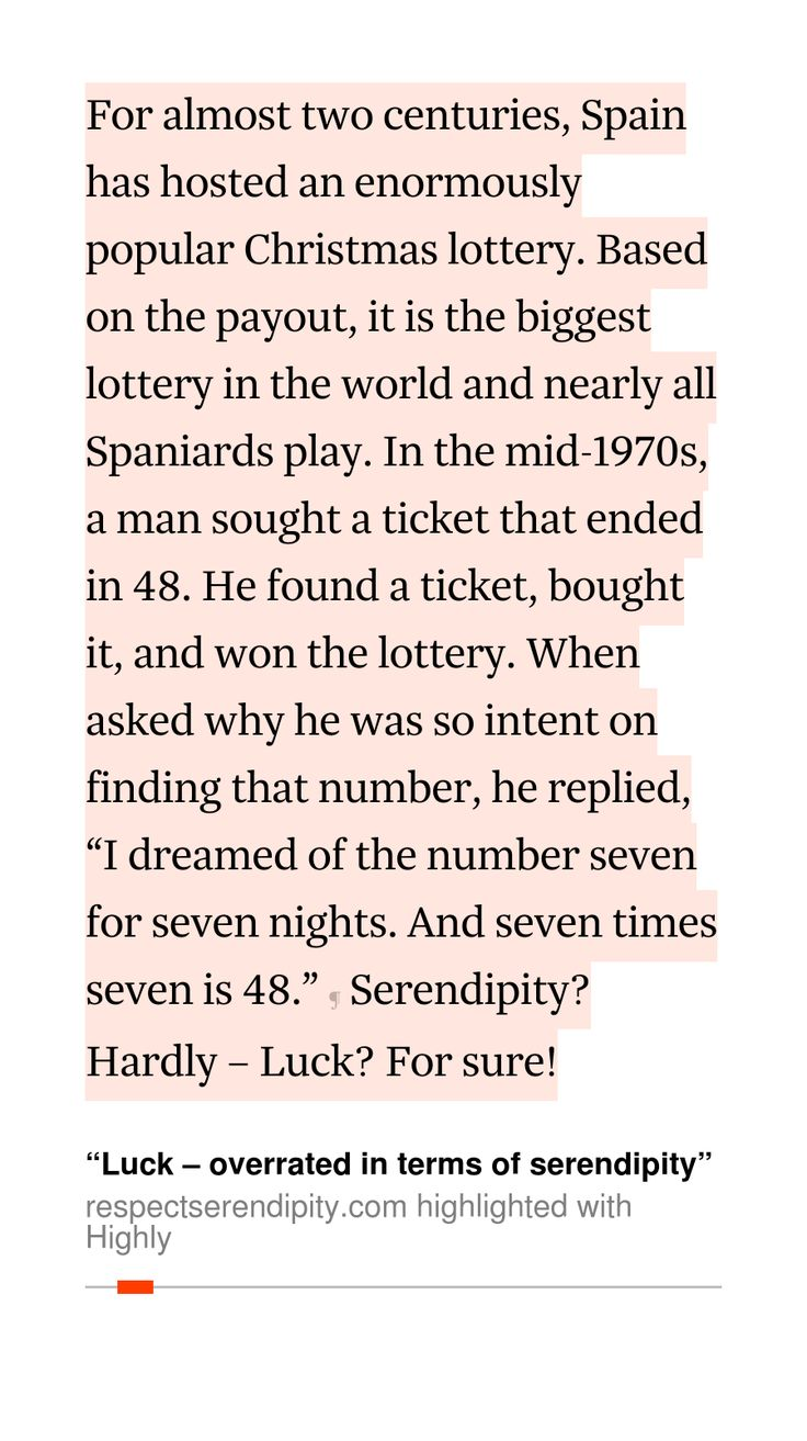 "serendipitor's 1 highlight (26s read) in ""Luck – overrated in terms of serendipity"""