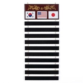 This martial arts belt rack is made of an ash wood board and 10 wooden slots to hold up to 10 belts.