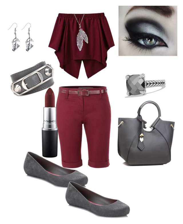 """Out for a walk"" by vroperwife on Polyvore featuring LE3NO, Balenciaga, Nina B, Zaxy, MAC Cosmetics and David Yurman"