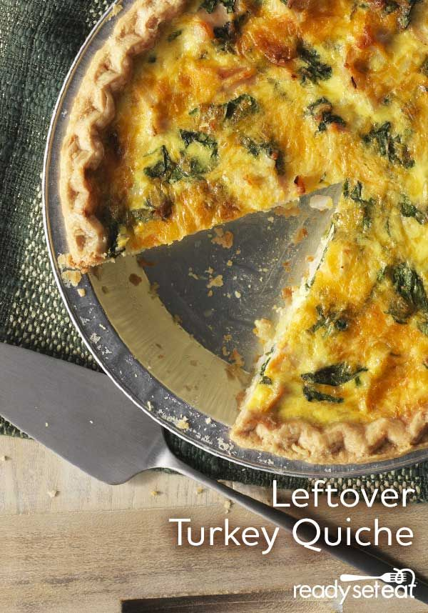 Leftover turkey is the star in this easy to prepare quiche along with fresh baby spinach and Cheddar cheese