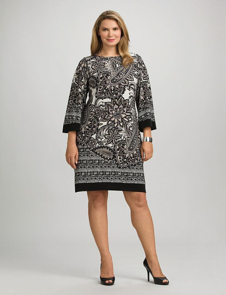 Plus Size | Dresses |  Neutral Paisley Dress | dressbarn