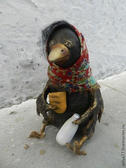 Бутылка кефира, полбатона.... - чёрный,ворона,птица,подарок,оригинальный подарок