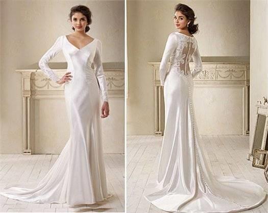 Шелковое свадебное платье с рукавами