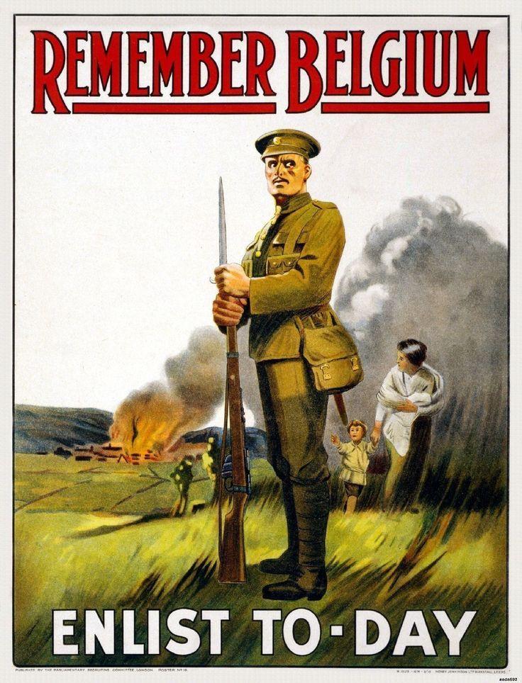 WWI British Army War Recruitment Propaganda Ad Poster Remember Belgium Print 692