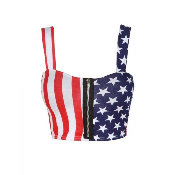 White American Flag Print Zip Front Bralet Top ($7.59) ❤ liked on Polyvore featuring tops, shirts, crop tops, blusas, white top, white crop shirt, white bralette tops, shirts & tops and bralette tops